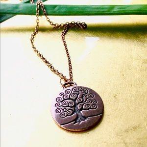 """Copper TREE of LIFE Pendant, 18"""" Copper Tone Chain"""